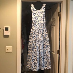 Jack Wills white/light blue midi dress
